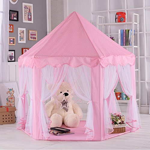 AuTop Large Indoor and Outdoor Kids Play House Pink Hexagon Princess Castle Kids Play Tent Child Play Tent