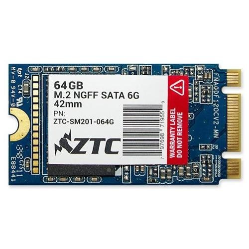 ZTC 64GB Armor 42mm M.2 NGFF 6G SSD Solid State Drive. Model ZTC-SM201-064G