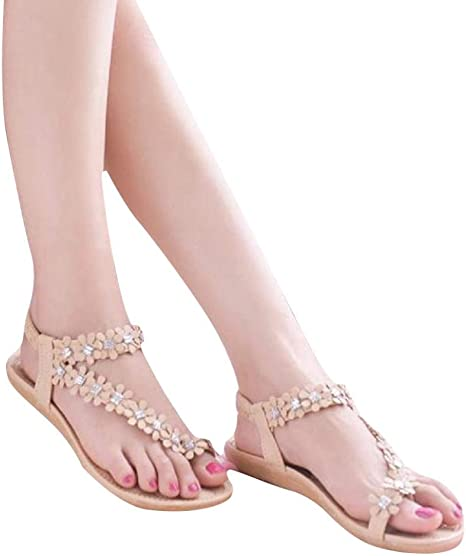 Hot Sale!Sandalen Damen,Sonnena Frauen Casual Summer Bohemia Flower Beads Flip flop Shoes Flat Sandals Elegant Sandalette Strand Artificial