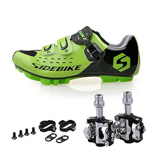 Price comparison product image KUKOME Men Women Mountain Bike Cycling Shoes and Pedals (Black Green + Black, US11 / EU44 / Ft28cm)