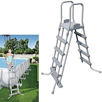 Bestway 58332 - Escalera para piscinas de 132 cm, con plataforma, 1 unidad, Gris