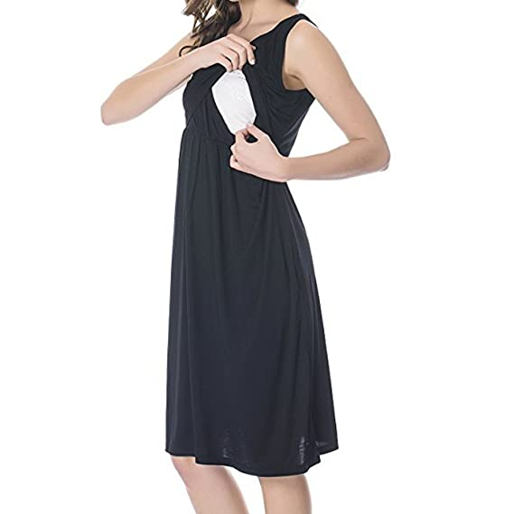 4a808e91b14f Indeals Women Sleeveless Maternity Dress Solid Empire Waist Nursing Dresses  for Breastfeeding  Amazon.in  Clothing   Accessories