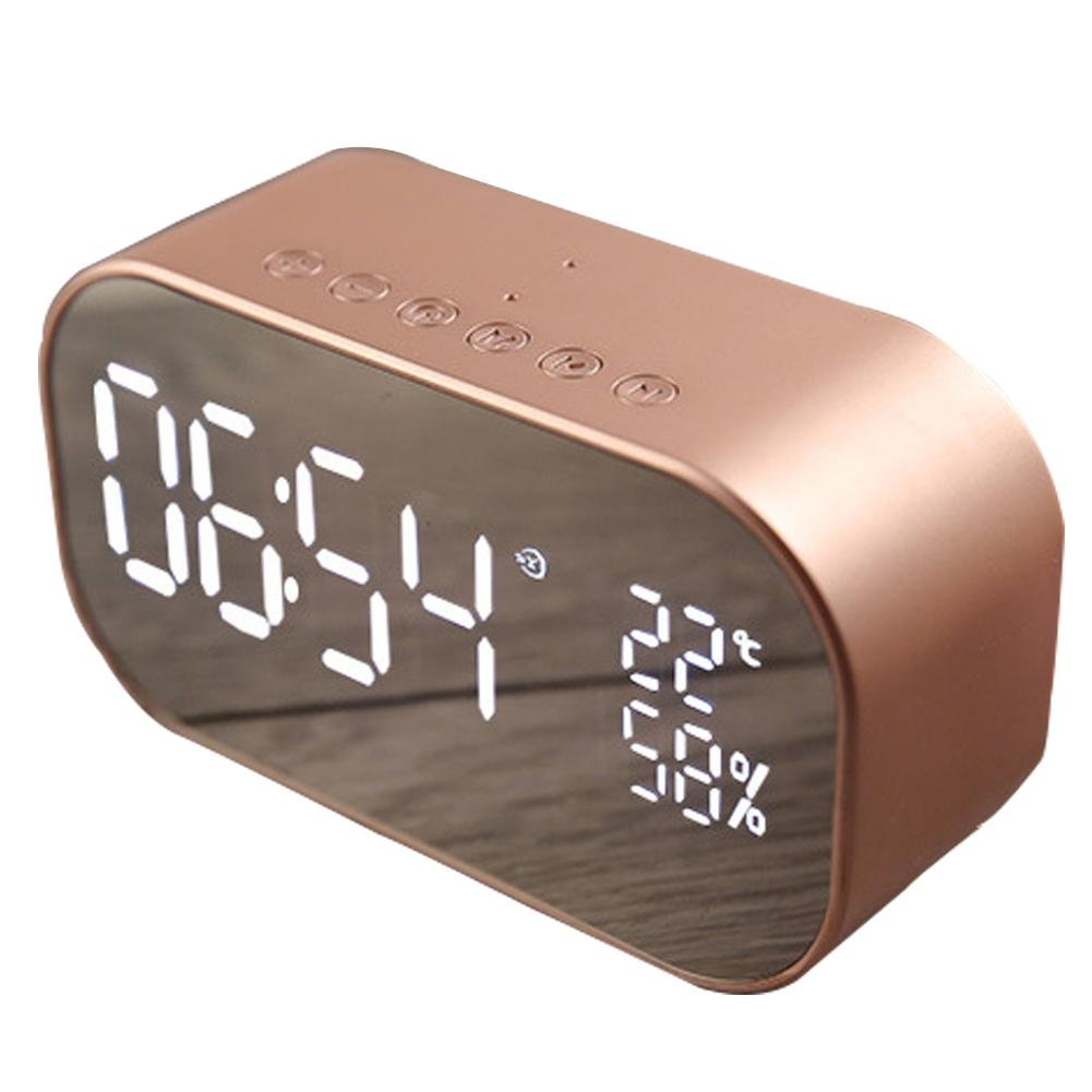 S2 Bluetooth Speaker +Digital Alarm Clock,2 in 1 Wireless Mini Mobile Alarm Clock Speaker Computer Car Subwoofer LCD Screen For Home, Office, Kids