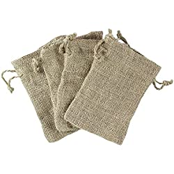 "Super Z Outlet Natural Color Burlap Bag with Drawstring Closure for Arts & Crafts Projects, Gift Packaging, Presents, Snacks & Jewelry (50 Pack) (4"" x 6"")"