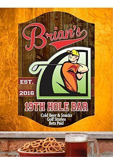 (19th Hole Personalized Home Bar Sign For Golfers, Traditional Wood Style Background, Classic Sports Font, Gift For Golfers, Sports Bar Decor)