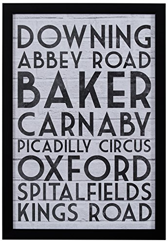 Modern Black & White London Street Names Print, Black Frame, 12