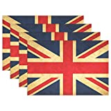 Cicily United Kingdom Grunge Flag Placemats Set of 6 Washable Heat Resistant Durable Stain Resistant,12x18 inches