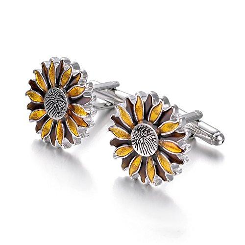 Yoursfs Sunflower Enamel Cufflinks Dark & Light Yellow Bullet Cufflinks Positive Fashion Cufflinks by Yoursfs (Image #3)