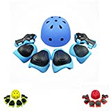 Lucky-M Kids 7 Pieces Outdoor Sports Protective Gear Set Boys Girls Cycling Helmet Safety Pads Set [Knee&Elbow Pads and Wrist Guards] for Roller Scooter Skateboard Bicycle(3-8Years Old) (blue)