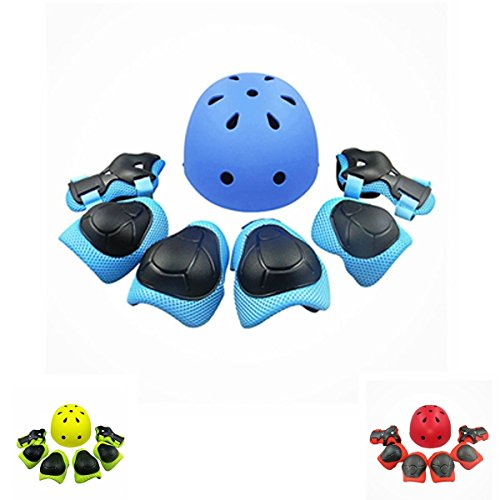 Review Lucky-M Kids Outdoor Sports Protective Gear,Boys and Girls Safety Pads Set [Helmet,Knee&Elbow Pads and Wrist Guards] for Roller, Scooter, Skateboard, Bicycle(4-8 Years Old)(Blue)