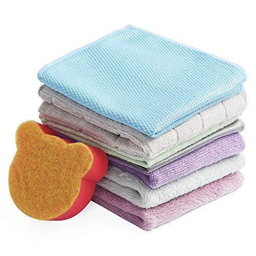 Kingshine Home Cleaning Set Microfiber Cleaning Cloths Duster Cloths - Kitchen Towels Microfiber Cleaning Cloths- Dish Towels Cleaning Rags, Sponge Dishcloths Set of 8 Pack for House Washcloths