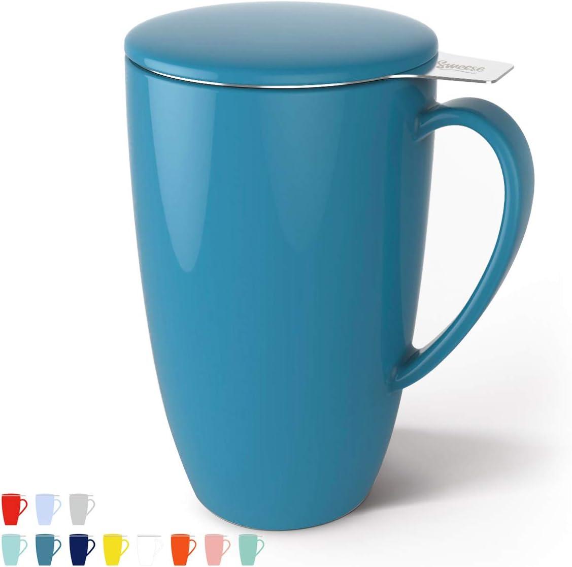Taza Sweese de cer/ámica//porcelana/con tapa y filtro para t/é acero inoxidable 400/ml Turquesa de acero inoxidable