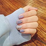 Cute Nails Designs Yunail Popular 24 pcs Purple with Stripe Short Fake Nails Rivets Nail Tips with Design in box cute for Daily Office
