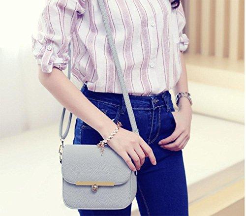 MEILI Bolsos de mujer, bolsos de moda Bolso de mensajero Bolso cuadrado pequeño simple Bolso diagonal de hombro retro , grey grey