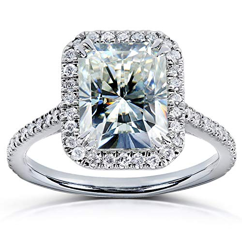 Radiant-cut Moissanite & Diamond Engagement Ring 3 Carat (ctw) in 14k White Gold