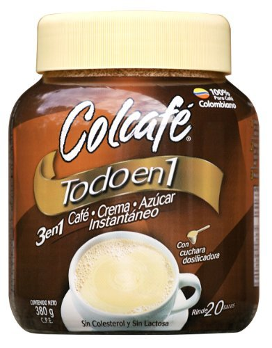 Colombian Coffee, Colcafé 3 in 1, Coffee, cream and sugar in.