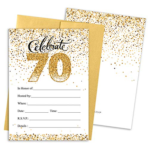 White and Gold 70th Birthday Party Invitations | 10 Cards with Envelopes -