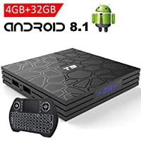 EASYTONE Android 8.1 TV Box with 4GB RAM 32GB ROM, 2018 New Android Boxes Quad Core/ 64 Bits/ BT4.1/ H.265/ 3D UHD 4K Smart Media Player with Backlit Mini Wireless Keyboard