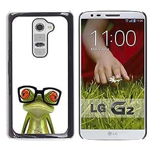 Be Good Phone Accessory // Dura Cáscara cubierta Protectora Caso Carcasa Funda de Protección para LG G2 D800 D802 D802TA D803 VS980 LS980 // Funny Glasses Frog