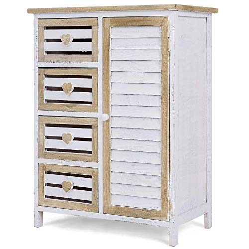 MMJ Wooden Freestanding Bathroom Locker - 4 Box Drawer Storage Cabinet - Easy to Store Items, Make Life Look Refined