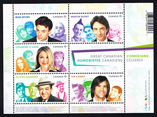 Jim Carrey, Martin Short, Olivier Guimond, Mike Myers, Catherine O'Hara Canadian Comedians Collectible Postage Stamps