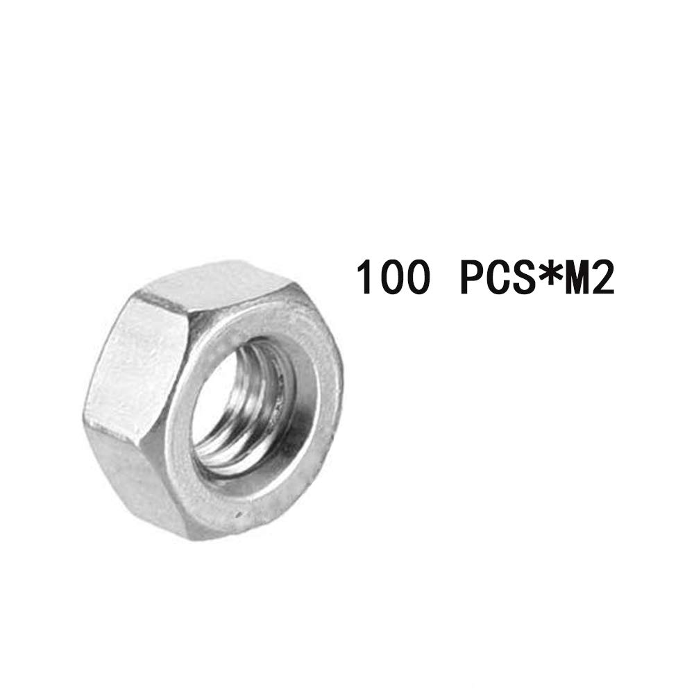 Pack of 100 FENGG Hex Nut,M2x0.4mm Metric Coarse Thread Hexagon Nut,Stainless Steel 304,