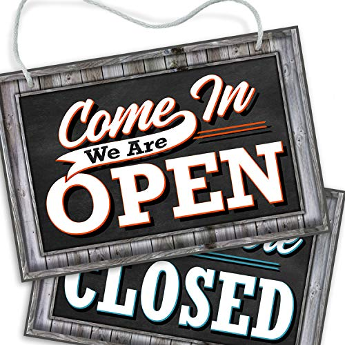 Open Closed Sign for Business Door | Reversible Double Sided with Rope for Hanging | Come in We're Open Sorry We're Closed Signs Decor | 1/4