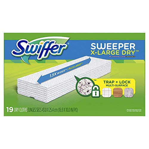 Swiffer Sweeper XL Dry Sweeping Pad Refills for Floor Mop, Unscented Refill Cloth, 19 Count, Swifter (3 Pack (19 Count))