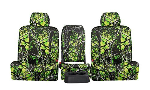 Front Seats: ShearComfort Custom Moon Shine Seat Covers for Ford F150 Extended Cab (2001-2003) in Toxic Camo Solid for Solid Bench w/Molded Headrests