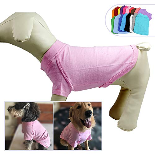 2018 Pet Clothing Dog Clothes Blank T-Shirt Tee Shirts for Small Middle Large Size Dogs 100% Cotton Dog Tees Classic (XXL, Pink)
