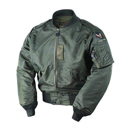 VTGDR Spring Fall US Air Force Men's L2 Bomber Jacket Short Outwear Green XL