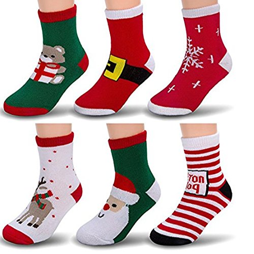 6 Pairs Christmas Children's Winter Warm Wool Socks For Kids Boys Girls Random Color (1-3years) (Opus One Gift Basket)