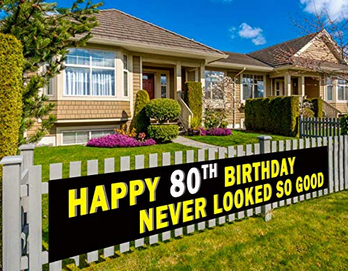 Colormoon 80th Happy Birthday Bunting Banner , 80th Birthday Party Decorations Supplies, Birthday Anniversary Sign (9.8 x 1.5 feet)