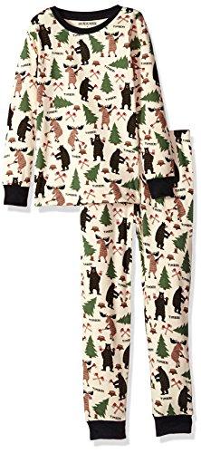 Little Blue House by Hatley Big Boys' Long Sleeve Printed Pajama Set, Lumberjack Animals Green, 10 - Animal Hatley