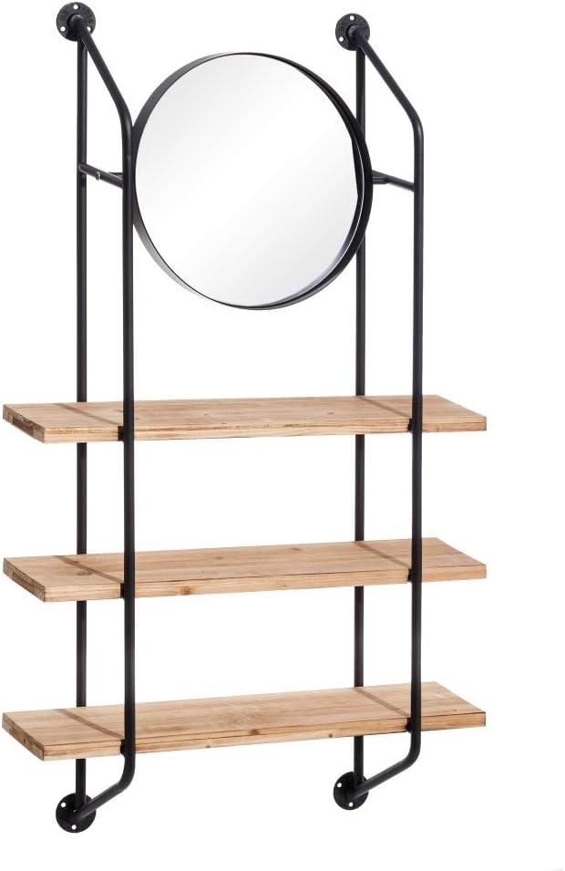 Estantería con Espejo de Madera y Metal, Industrial Negra, de 75x20x135 cm - LOLAhome: Amazon.es: Hogar