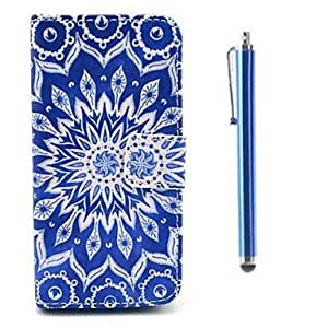 DUR Big Flower Pattern PU Full Body Case with Card Slot and Stand for iPhone 5C