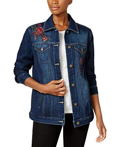 Style & Co. Aurora Embroidered Denim Trucker Jacket (Aries, S)