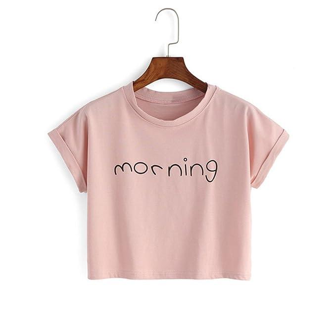 ZHLDX Rosa Linda Mujer Feliz Verano la Moda de Estilo Coreano Carta Imprimir Las Camisetas de Algodón DE Manga Corta Cuello Sexy, 01: Amazon.es: Ropa y ...