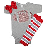 FanGarb Baby Girls red Rhinestone Football Outfit with Leg wamers & Bow