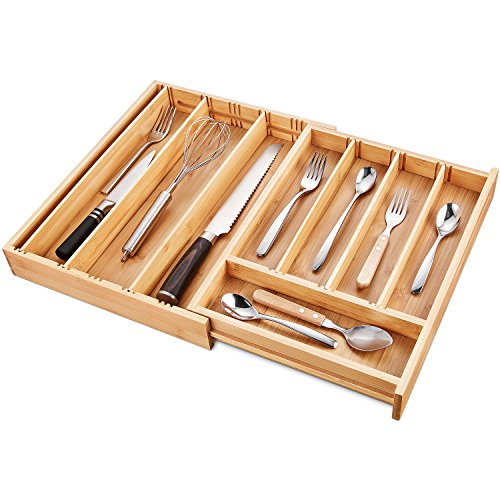 DEIK Bamboo Drawer Organizer, Expandable Cutlery Tray and Utensil Organizers Tray, Adjustable Kitchen Drawer Divider, Flatware and Silverware Cutlery Drawer for Utensil Storage