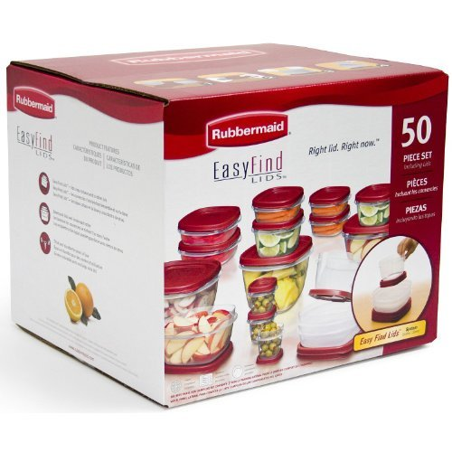 Rubbermaid Easy Find Lids Food Storage Containers, Racer Red, 50-Piece Set B002RSO2PW by Rubbermaid