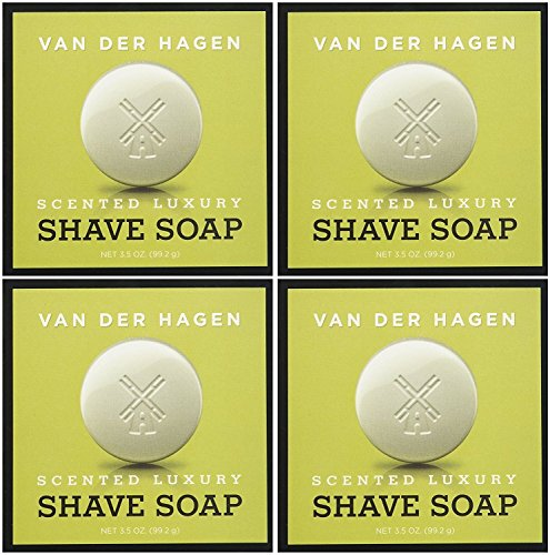 Van Der Hagen Men's Luxury Scented Shave Soap, 3.5 Ounce (Pack of 4)