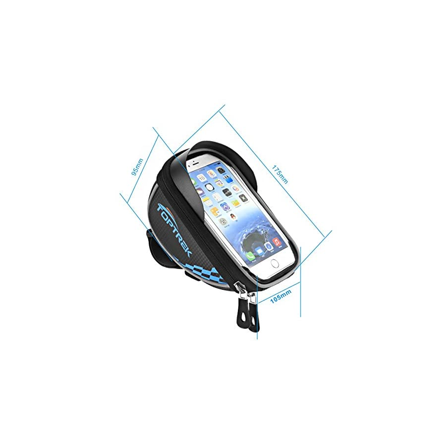 TOPTREK Cycling Bicycle Bike Top Tube Handlebar Bag Phone Mount Holder For iPhone 7 7Plus 6 6plus 6s 5 5s/Galaxy Note2/Galaxy S5 Cellphone Below 5.5 Inch Waterproof Front Frame Bags