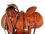 Western Cowboy Saddle 17 16 15 Trail Leather Horse Roping Work Ranch Saddle Set