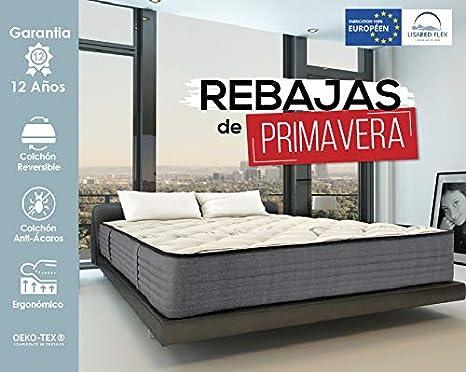 Lisabed Flex | Colchón Lisa-Flex 90 x 190 cm | Viscoelástico de Grafeno de Alta Densidad | Reversible (Invierno/Verano) | Gama Prestige Hotel | 24 cm (+/- 2 cm) | Todas Las Medidas