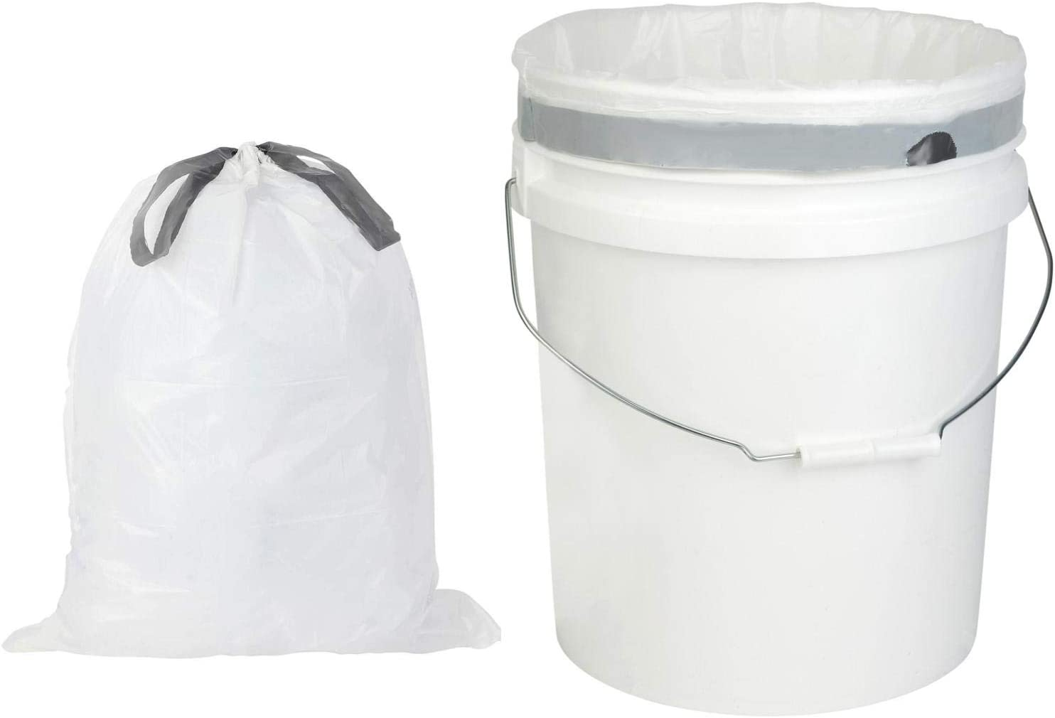 Plasticplace 5 Gallon Trash Bags │ 0.9 Mil │ White Drawstring Garbage Liners for Bucket │ 19