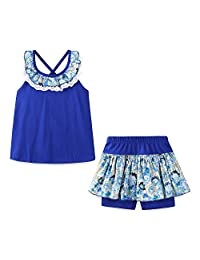 Mud Kingdom Girls Outfits Holiday Summer Lace Floral Collar Short Sets