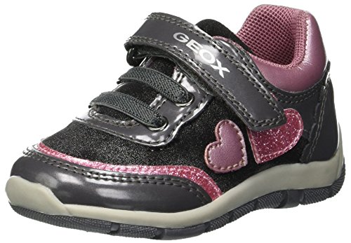 Geox Shaax Girl 20 Velcro Patent Heart Sneaker, Grey/Pink, 23 Medium EU Toddler (7 US)