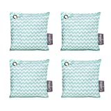 California Home Goods 4 Pack - 200g Activated Charcoal Deodorizer Odor Neutralizer Bags, Unscented Air Freshener, Car Freshener, Moisture Absorber, 100% Chemical-Free Odor Eliminator, Teal Pattern