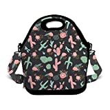 OKAYDECOR Neoprene Lunch Tote - Southwest Flower Cactus Waterproof Reusable Lunch Bags for Men Women Adults Students Kids Toddler Nurses with Adjustable Shoulder Strap - Best Travel Bag